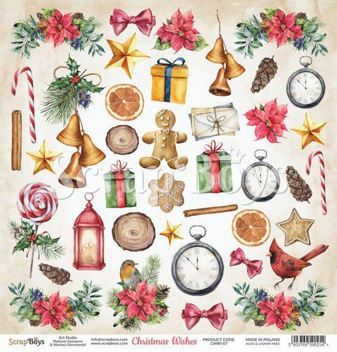 ScrapBoys Christmas Wishes paper cut out elements DZ CHWI-07 190gr 30,5 x 30,5cm (10-20)
