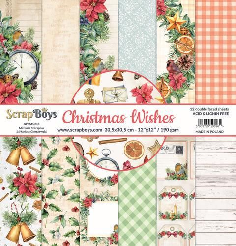 ScrapBoys Christmas Wishes paperset 12 vl+cut out elements-DZ CHWI-08 190gr 30,5 x 30,5cm (10-20)