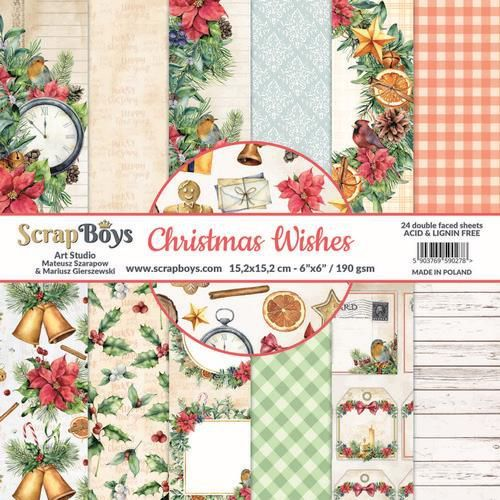 ScrapBoys Christmas Wishes paperpad 24 vl+cut out elements-DZ CHWI-09 190gr 15,2 x 15,2cm (10-20)