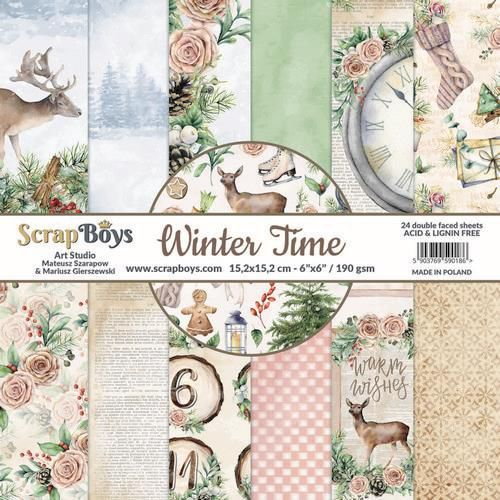 ScrapBoys Winter Time paperset 12 vl+cut out elements-DZ WITI-08 190gr 30,5 x 30,5cm (10-20)