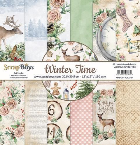 ScrapBoys Winter Time paperpad 24 vl+cut out elements-DZ WITI-09 190gr 15,2 x 15,2cm (10-20)