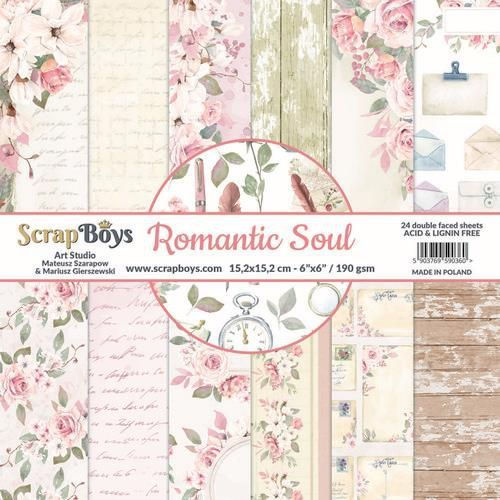 ScrapBoys Romantic Soul paperpad 24 vl+cut out elements-DZ ROSO-09 190gr 15,2 x 15,2cm (10-20)