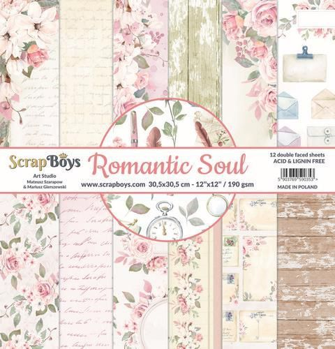 ScrapBoys Romantic Soul paperset 12 vl+cut out elements-DZ ROSO-08 190gr 30,5 x 30,5cm (10-20)
