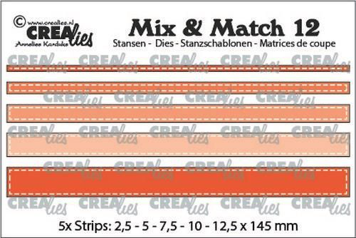 Crealies Mix & Match strips met stiklijn (5x) CLMix12 max. 12,5x145 mm (10-20)