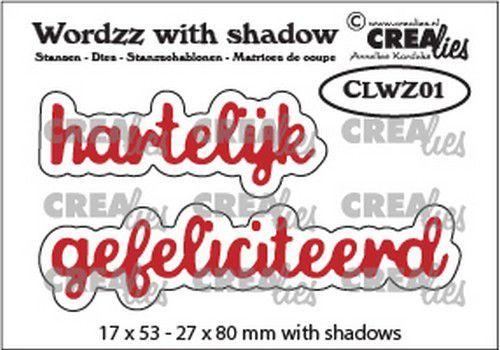 Crealies Wordzz with Shadow Hartelijk gefeliciteerd (NL) CLWZ01 22x85 mm (10-20)