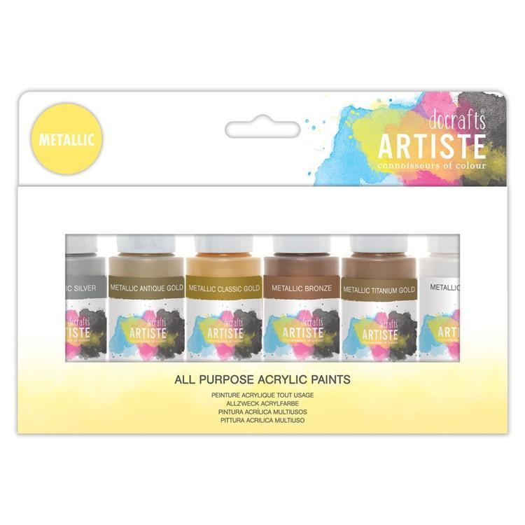 Artiste Acrylic Pack 6x59ml - Metallic