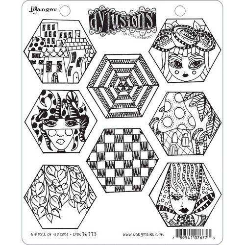 Ranger Dylusions Cling Stamp Set A Heck of Hexies DYR76773 (11-20)