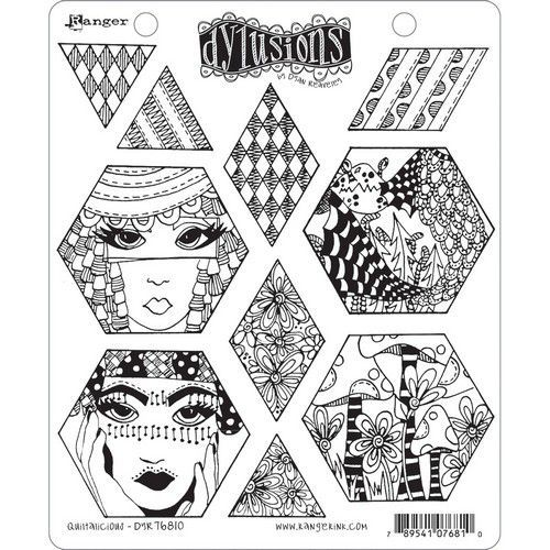 Ranger Dylusions Cling Stamp Set Quiltalicious DYR76810 (11-20)