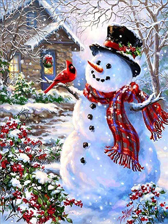 Diamond Painting sneeuwpop 1