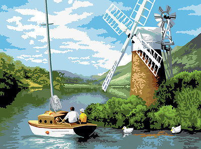 Painting by numbers Adult Large WINDMILL ON THE RIVE