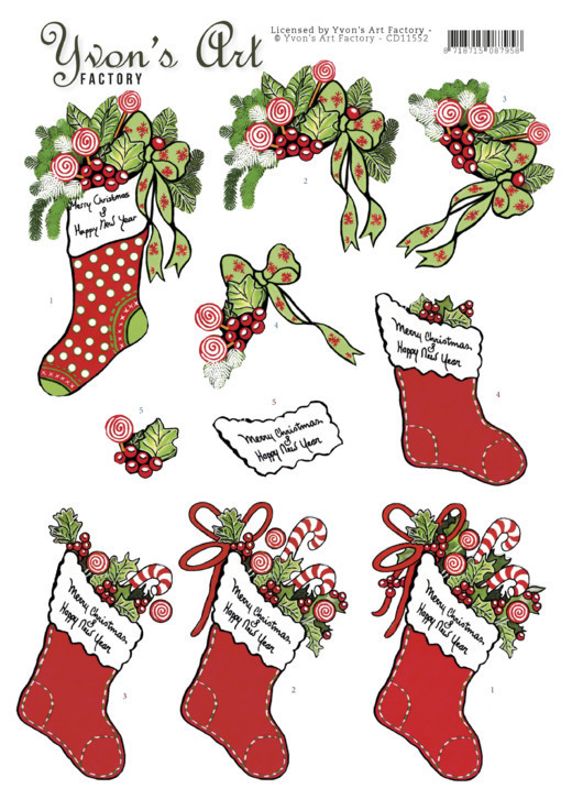 3D Cutting Sheet -Yvon's Art-Christmas stocking