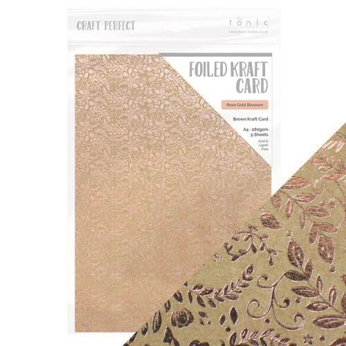 Tonic Studios Craft P. Foiled K.Card - Rose Gold Blossom 5 vl 9350e (11-20)