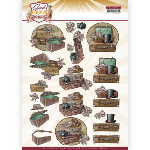 3D cutting sheet - Yvonne Creations - Good old day's - Suitcase