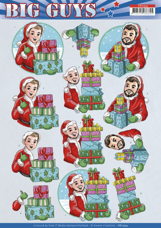 3D Cutting Sheet -Yvonne Creations -Big Guys Christmas