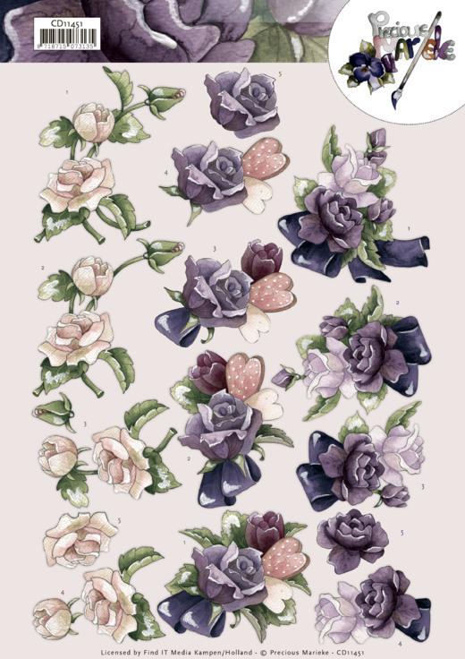 3D Cutting Sheet -Precious Marieke -Pink Roses