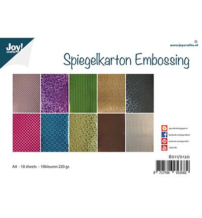 Spiegelkarton Embossing - 10 designs - 10 kleuren