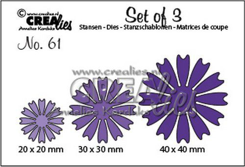 Crealies Set of 3 no. 61 dichte Bloemen 26 CLSet61 40x40mm (11-20)
