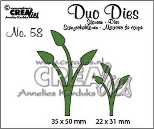 Crealies Duo Dies no. 58 Blaadjes 12 CLDD58 35x50mm (11-20)