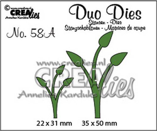 Crealies Duo Dies no. 58A Blaadjes 12 spiegelbeeld CLDD58A 36x50mm (11-20)