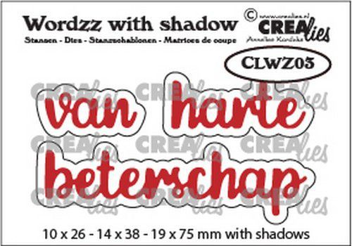 Crealies Wordzz with Shadow van Harte beterschap (NL) CLWZ03 19x75mm (11-20)