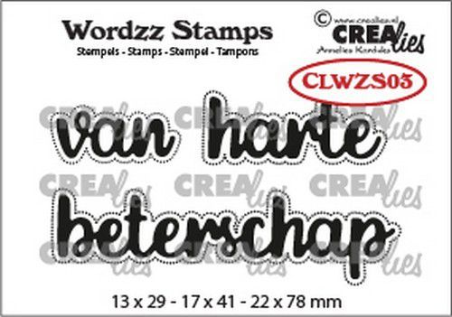Crealies Clearstamp Wordzz van Harte beterschap (NL) CLWZS03 22x78mm (11-20)
