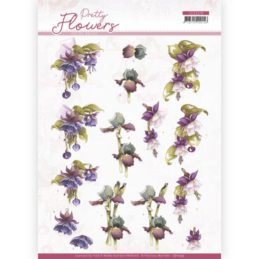 3D cutting sheet - Precious Marieke - Pretty Flowers - Purple Flowers