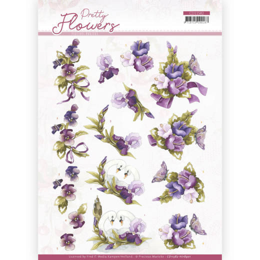 3D cutting sheet - Precious Marieke - Pretty Flowers - Flowers and Swan