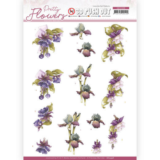 3D Push Out - Precious Marieke - Pretty Flowers - Purple Flowers