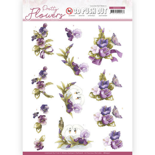3D Push Out - Precious Marieke - Pretty Flowers - Flowers and Swan