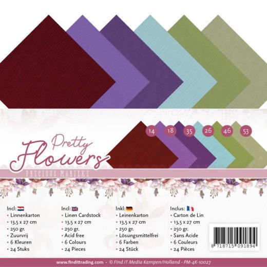 Linen Cardstock Pack - 4K - Precious Marieke - Pretty Flowers
