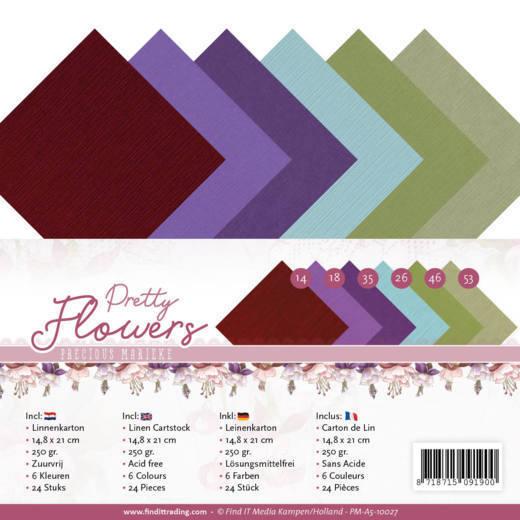 Linen Cardstock Pack - A5 - Precious Marieke - Pretty Flowers