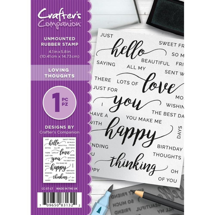 Crafter's Companion A6 unmounted rubberen stempel - Loving Thoughts