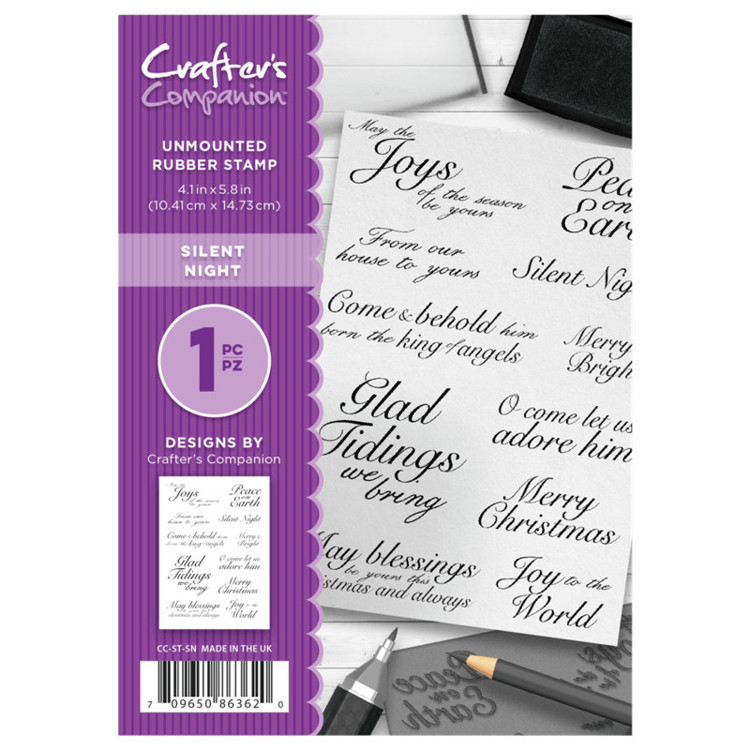 Crafter's Companion A6 unmounted rubberen stempel - Silent Night
