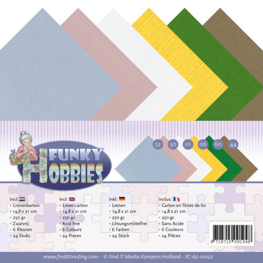 Linen Cardstock Pack - A5 - Yvonne Creations - Funky Hobbies