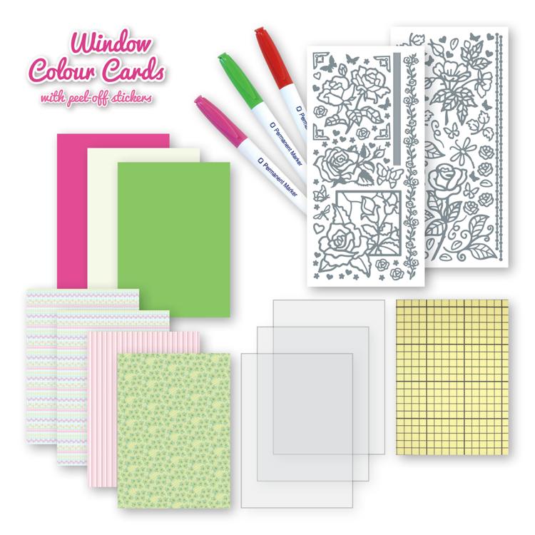 Window colour cards set Roses