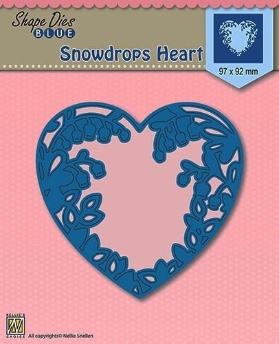 Shape Die Blue- Snowdrops heart