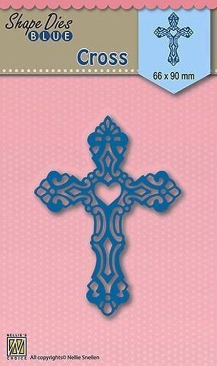Snijmal Nellie Snellen - Shape Die Blue Cross - kruis - condeolance