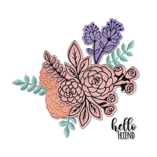 Sizzix Framelits Die Set - 6PK w/Stamps - Floral Bunch 665064 Jen Long-Philipsen (01-21)