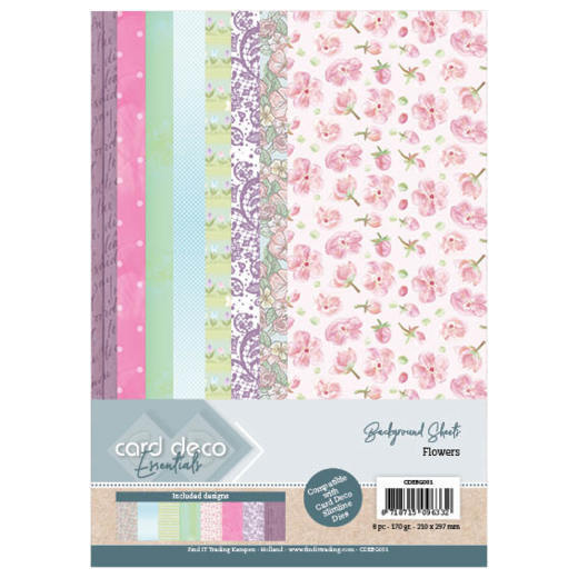 Card Deco Essentials Back Ground Sheets - Flowers