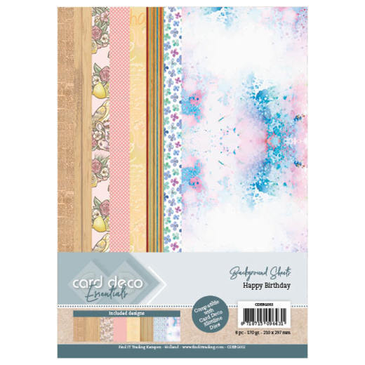 Card Deco Essentials Back Ground Sheets - Happy Birthday