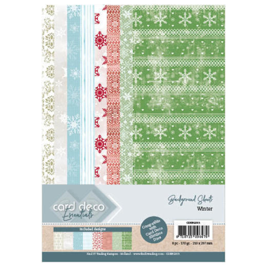 Card Deco Essentials Back Ground Sheets - Winter