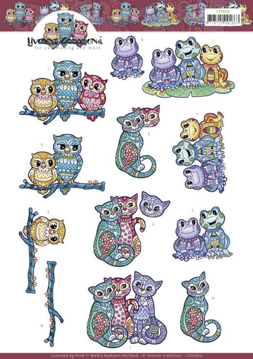 3D Cutting Sheet -Yvonne Creations -Boho Animals