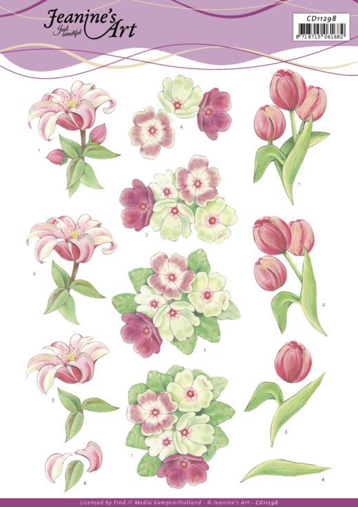 3D Cutting Sheet -Jeanine's Art -Red Flowers