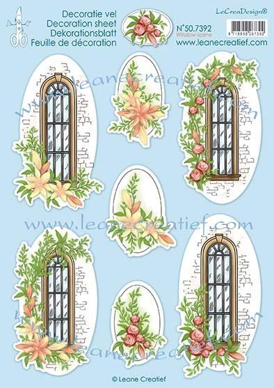 Decoratie vellen Window scene per 1 vel A4