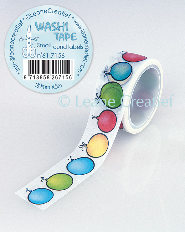 Washi tape Ronde labeltjes, 20mm x 5m.