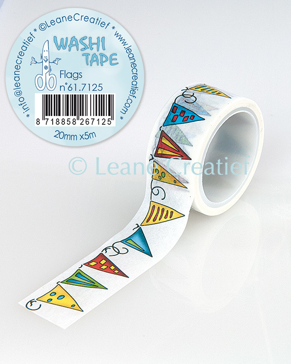 Washi tape Vlaggetjes, 20mm x 5m.