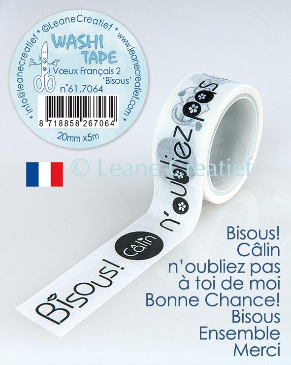 Washi tape Vux Français 2. Bisous, 20mm x 5m.