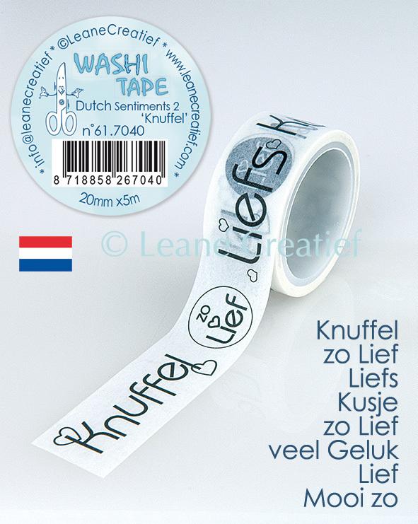 Washi tape Nederlandstalige woorden 2. Knuffels, 20mm x 5m.