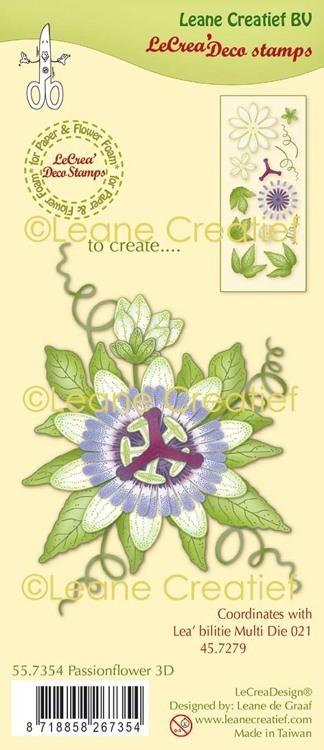 LeCreaDesign® deco clear stamp Passiebloem 3D