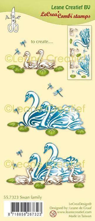 LeCreaDesign® combi clear stamp Zwanen familie